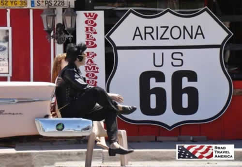 Elvis and friend in Seligman, Arizona, on Historic Route 66