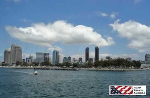 The bay and downtown skyline in San Diego
