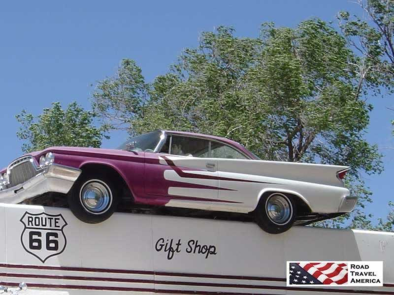 The Purple & White DeSoto on the roof ... DeSoto's Salon, 327 Lewis Avenue, Ash Fork, Arizona, along Historic Route 66