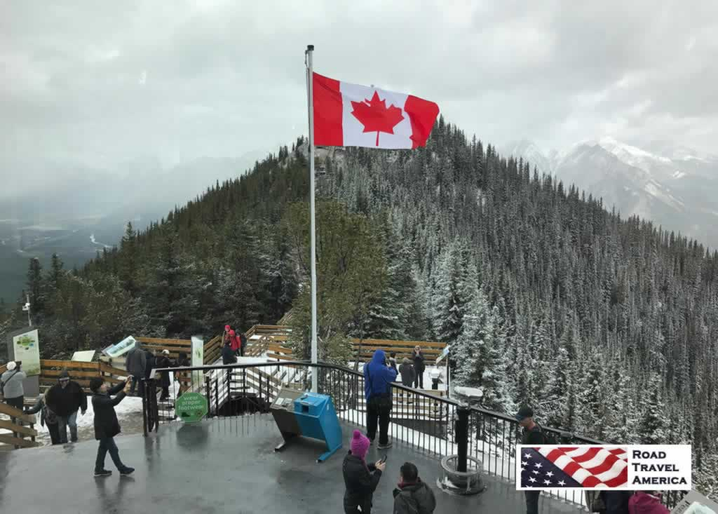 Snowy day in September of 2017, at the top of the Banff Goldola