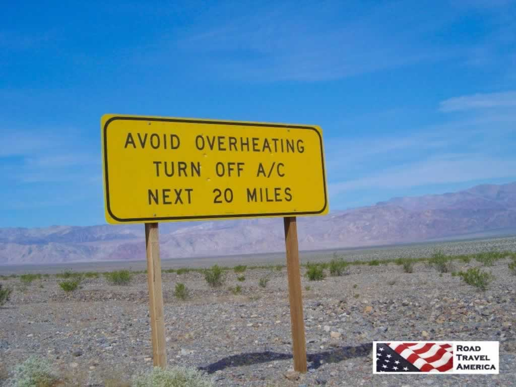 Sign in Death Valley National Park: Avoid Overheating - Turn Off A/C - Next 20 Miles