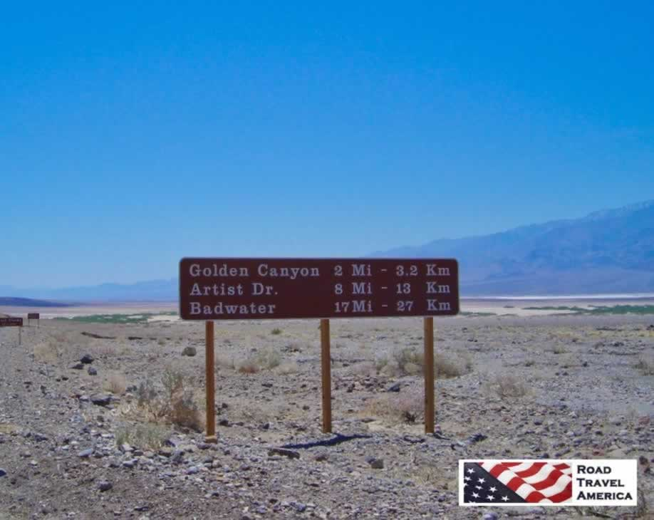 Mileage Marker Sign in Death Valley National Park in California