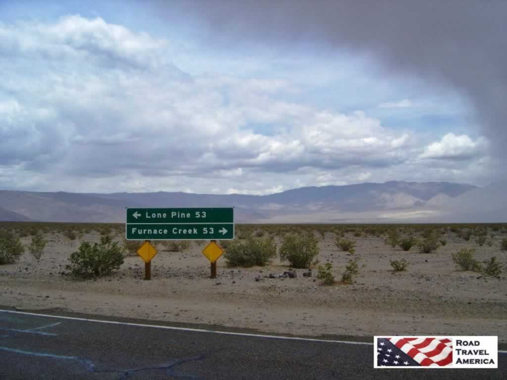 Lone Pine, 53 Miles ... Furnace Creek, 53 Miles, in Death Valley National Park in California