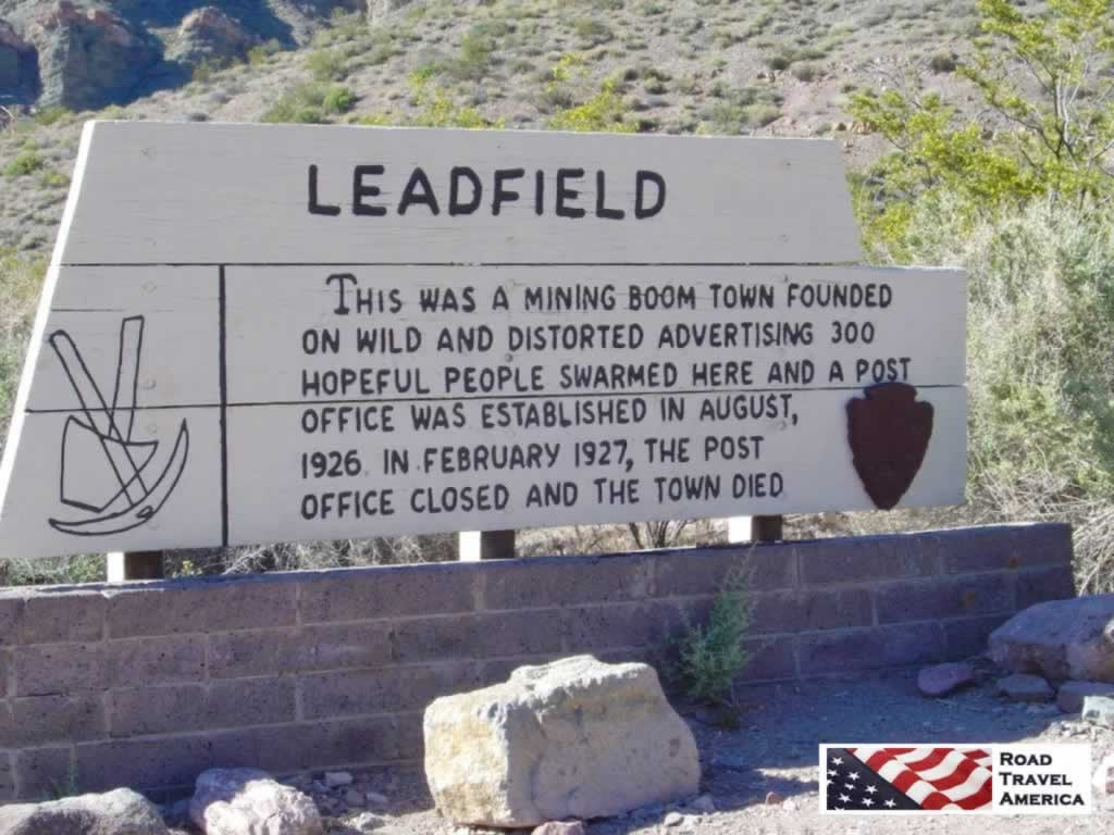 Leadfield ghost town in Death Valley National Park, closed in 1927