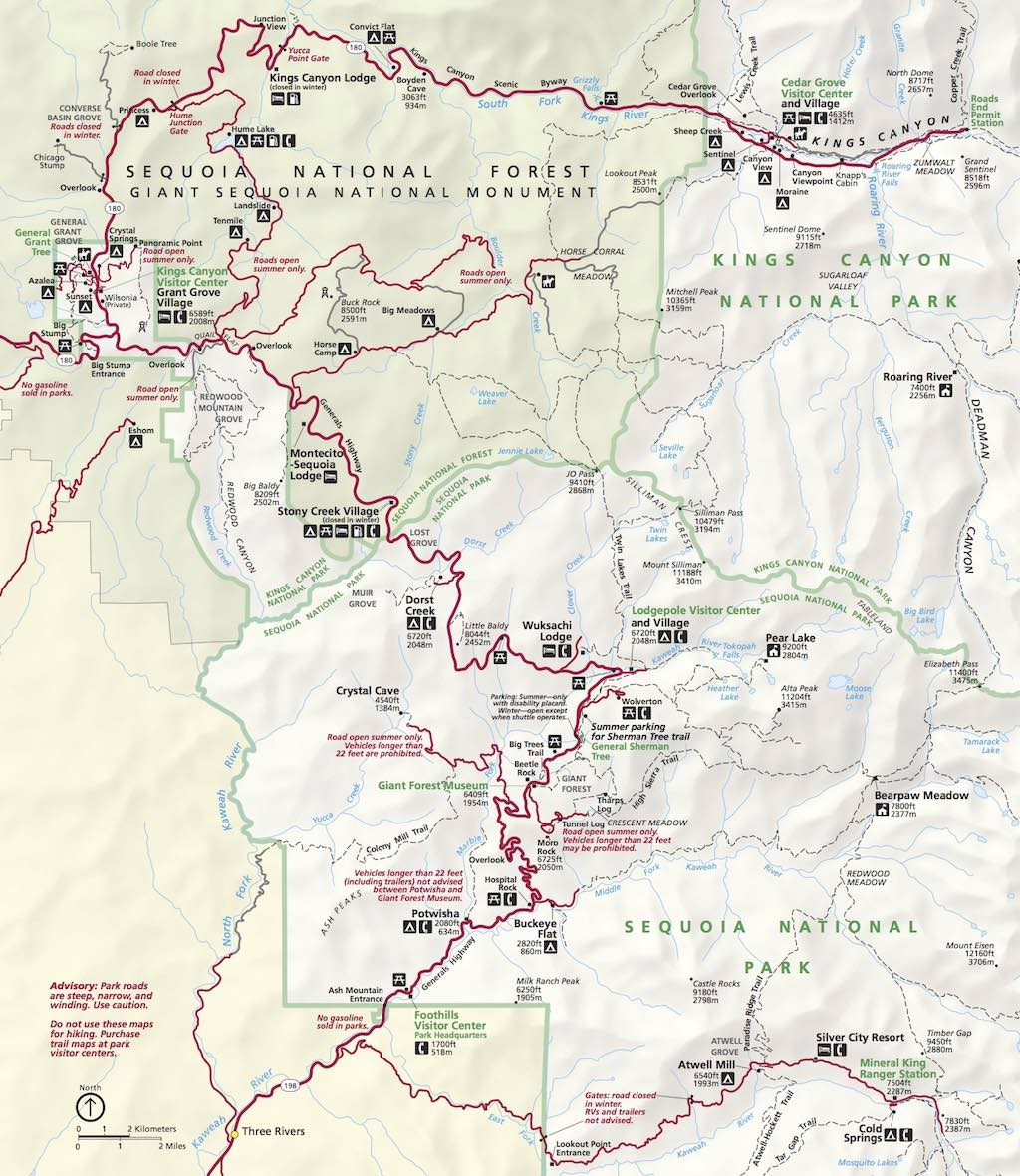 Map of Sequoia and Kings Canyon National Parks