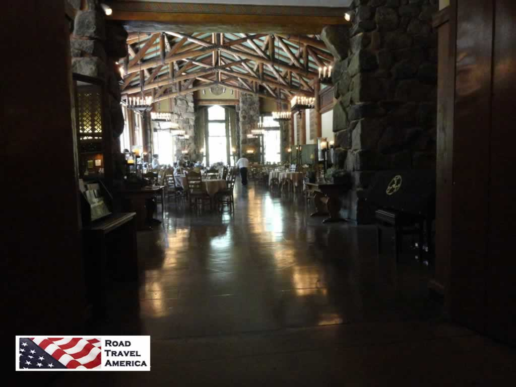 Interior view of the Ahwahnee Hotel, looking into the dining room