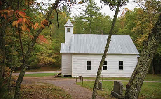 Cades Cove Primitive Baptist Church in the Great Smoky Mountains National Park