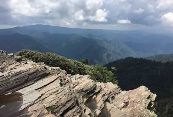 View of the Great Smoky Mountains National Park from one of many stone cliffs