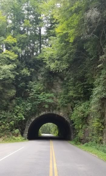 Approaching an auto tunnel in summer in the Great Smoky Mountains National Park