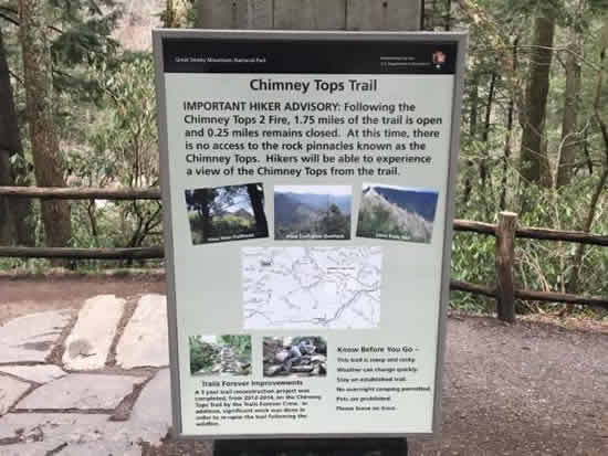 Notice to hikers at Chimney Tops Trail in the Great Smoky Mountains