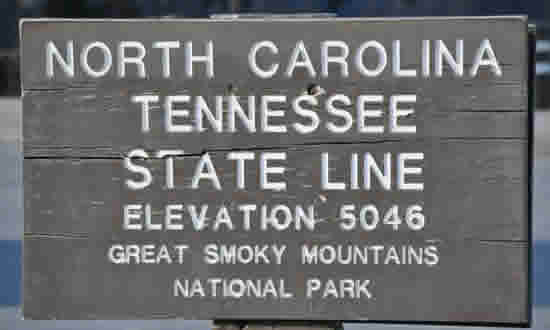 The North Carolilna - Tennessee State Line in Great Smoky Mountains National Park