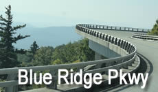 The famous Blue Ridge Parkway, winding through the mountains of North Carolina