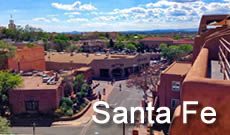 Santa Fe, the capitol of New Mexico, lies about 65 miles northeast of Albuquerque