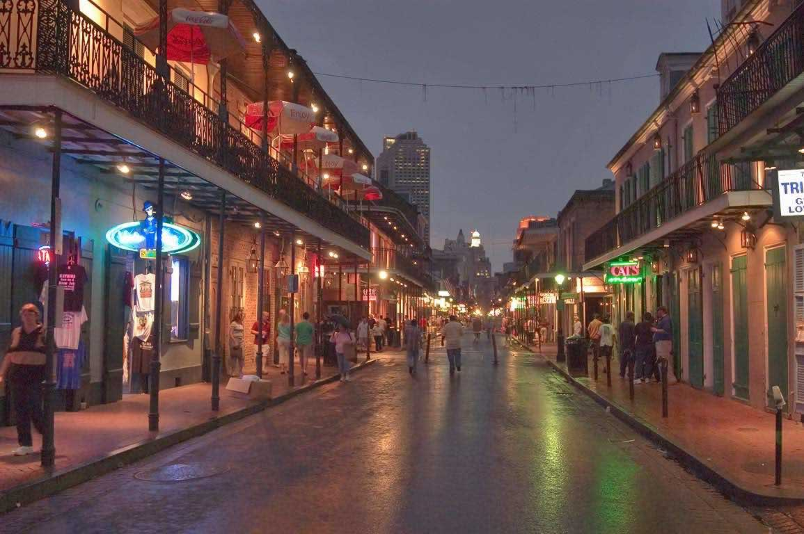 Bourbon Street at night in the New Orleans French Quarter