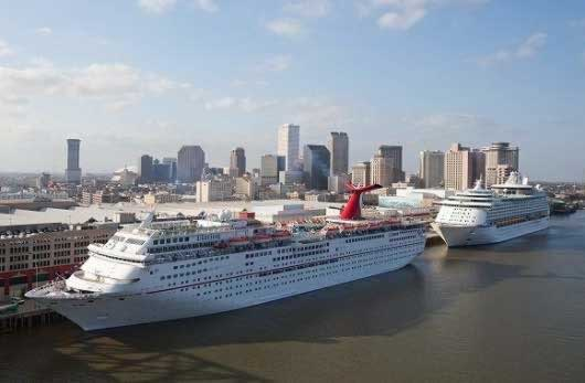 The New Orleans Cruise Port, home to Carnival Cruise Lines, Royal Caribbean, NCL, and others