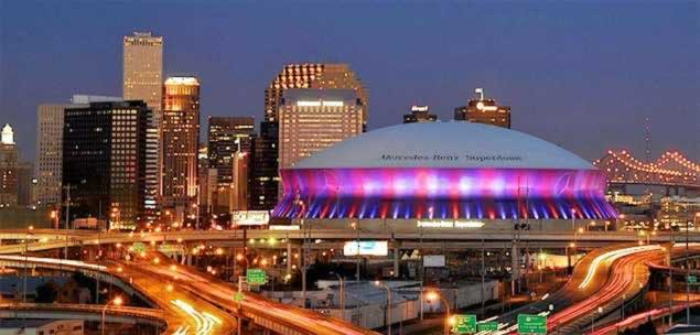 The New Orleans Superdome and skyline