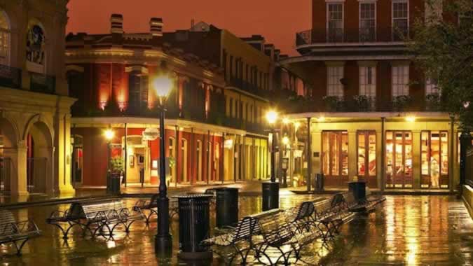 The New Orleans French Quarter on a rainy night
