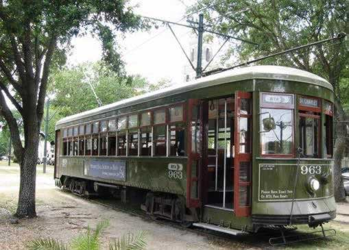 St. Charles streetcar in the New Orleans Garden District