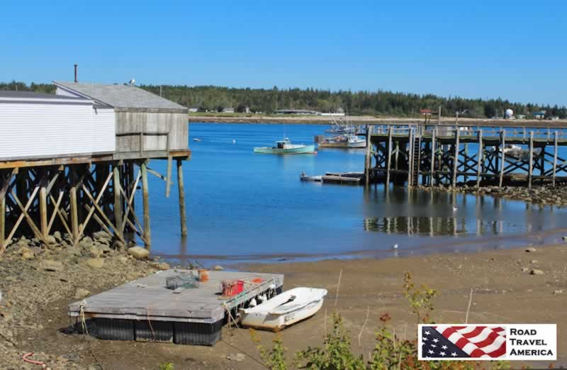 Low tide at a small fishing village near Bar Harbor in Maine