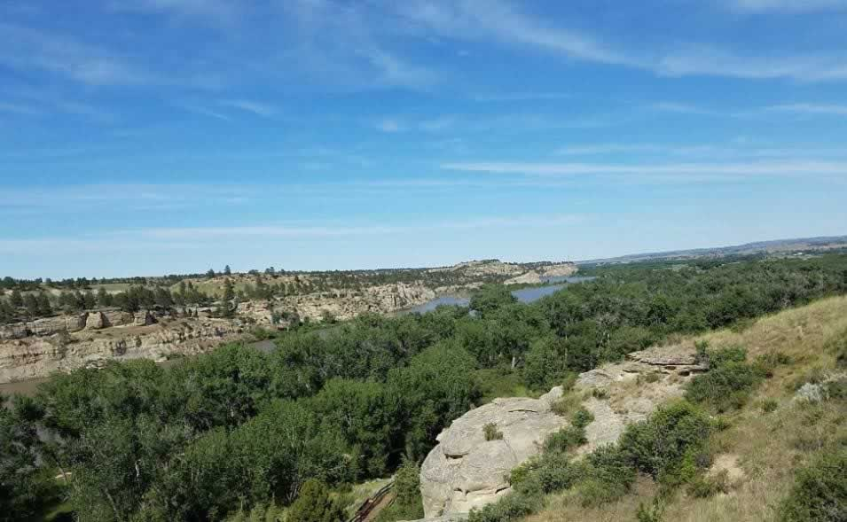 View from the top of Pompeys Pillar, with the Yellowstone River in the distance