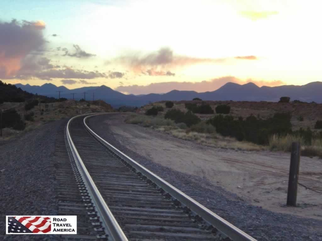 Quiet afternoon sunset at a railroad crossing south of Santa Fe