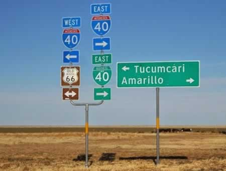 Route 66 between Tucumcari, New Mexico, and Amarillo, Texas