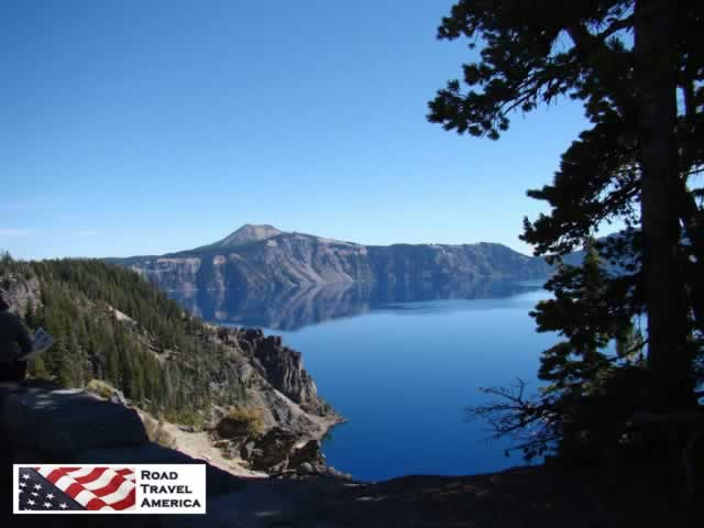 Still, blue waters, and blue skies, at Crater Lake National Park in Oregon