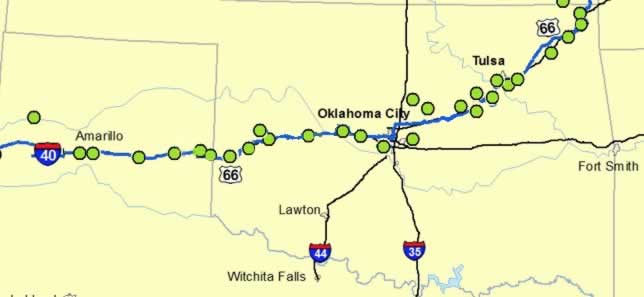 Road trip planner for historic route 66 across oklahoma the route map of historic route 66 across oklahoma gumiabroncs Images