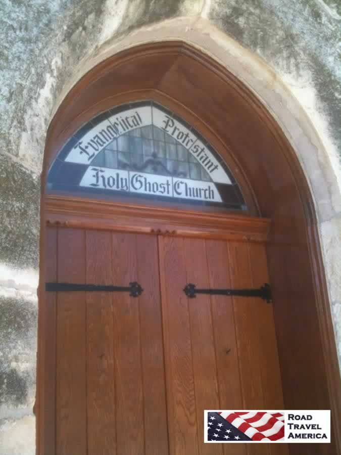 Entrance to the Evangelical Protestant Holy Ghost Church in Fredericksburg