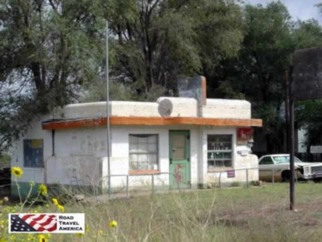 Abandoned building and car seen at Glenrio in Texas on US Route 66