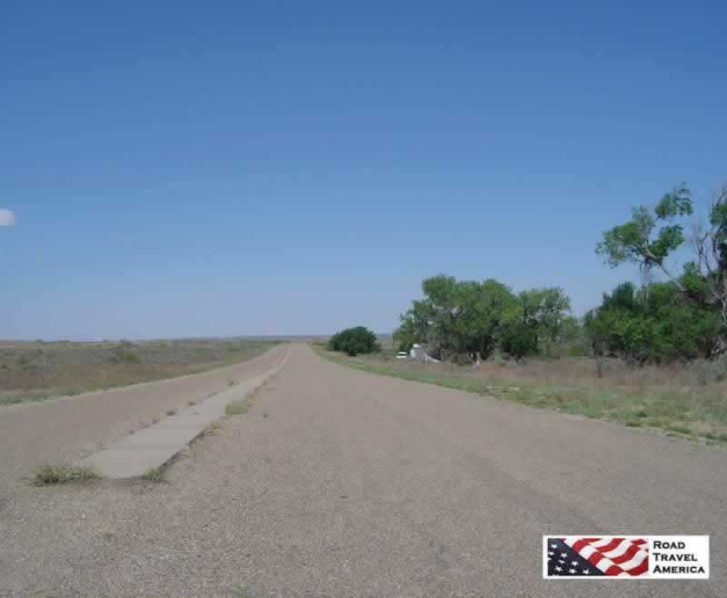 Historic Route 66 right-of-way in Glenrio, Texas