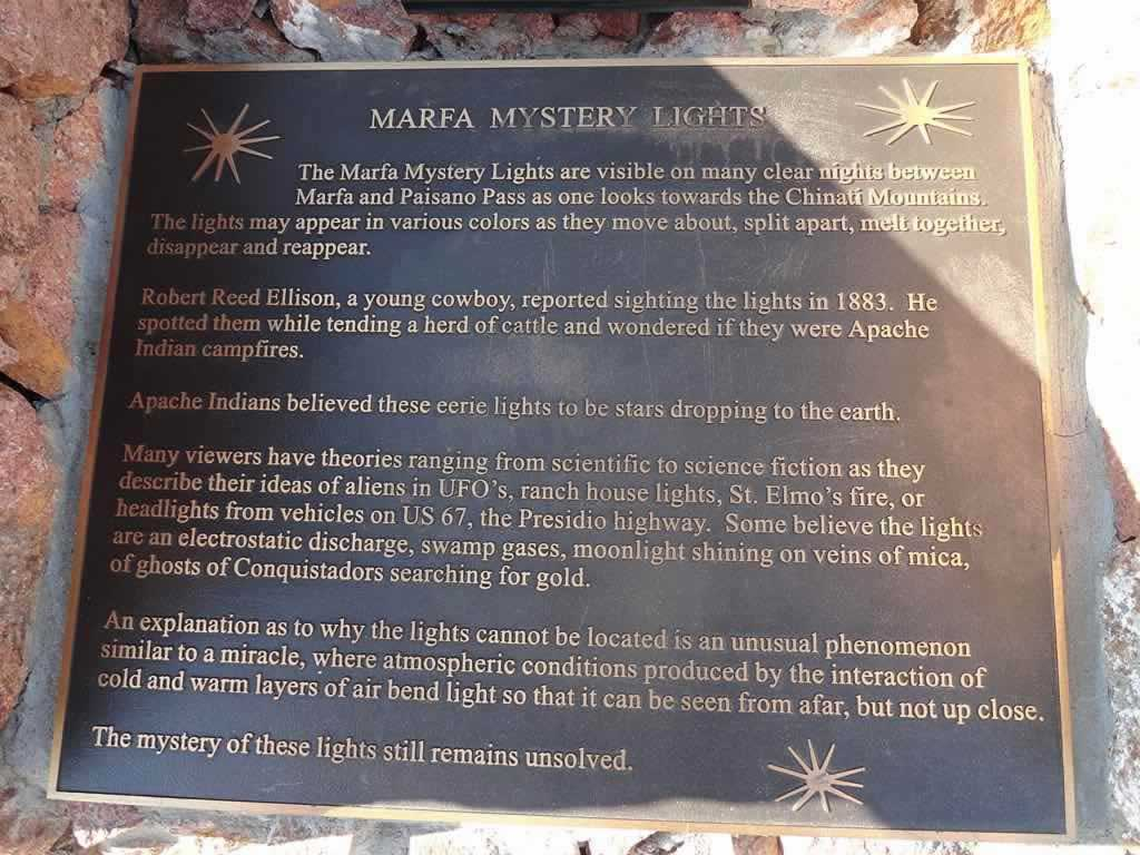Plaque about the Marfa Mystery Lights at the Viewing Station
