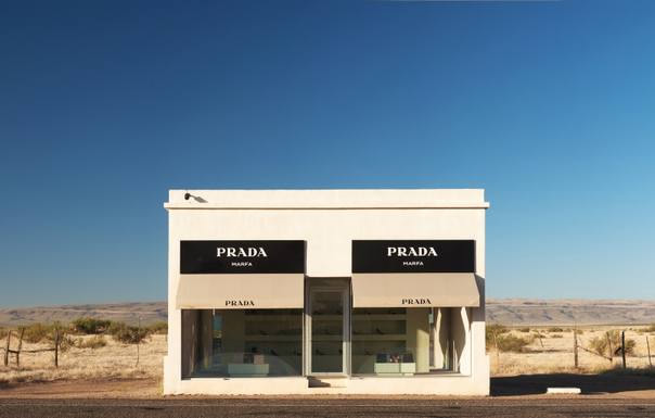 Prada Marfa is a permanently installed sculpture by artists Elmgreen and Dragset, just off U.S. Highway 90 about 26 miles northwest of Marfa