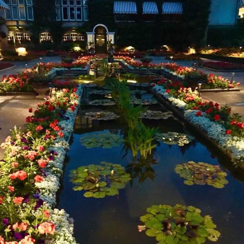 Spectacular night time scene at Butchart Gardens in Victoria, British Columbia