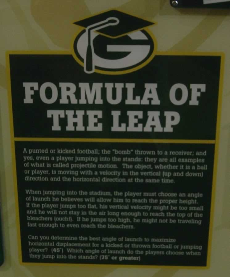 Formula of the Green Bay Packers Leap