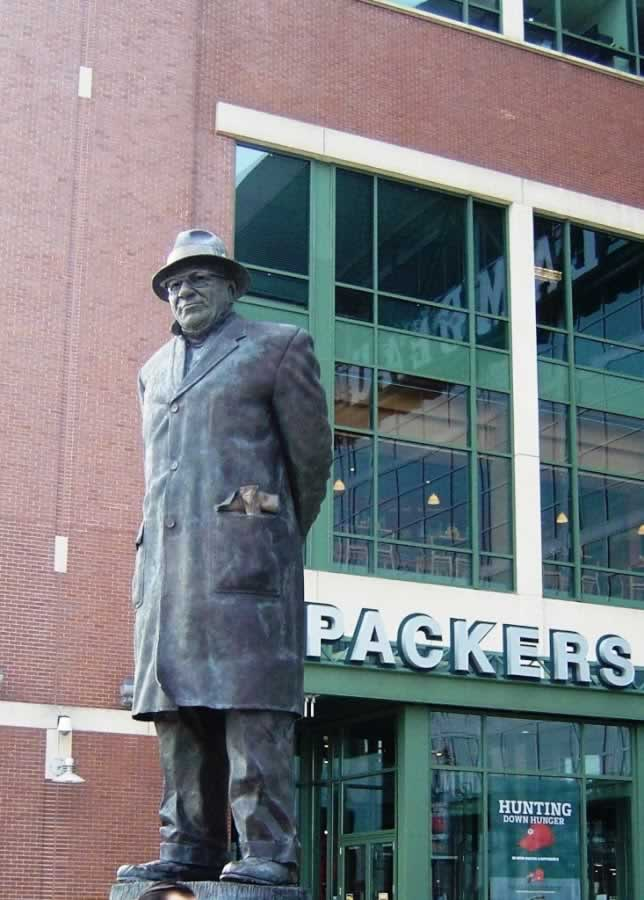 Vince Lombardi sculpture at Lambeau Field in Green Bay, Wisconsin