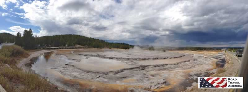 Geothermal activity panorama at Yellowstone National Park