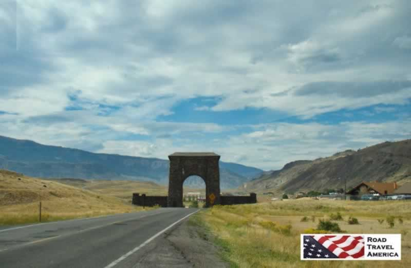 The Roosevelt Arch at the Gardiner, Montana north entrance to Yellowstone National Park