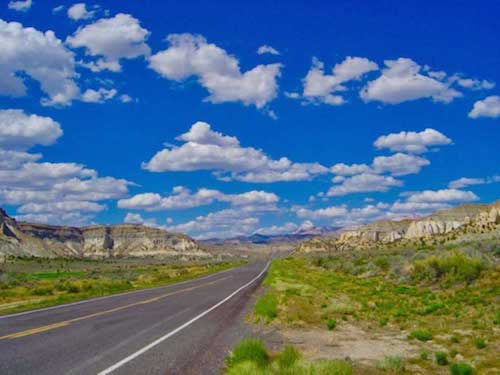 Riding east towards Escalante on Utah Scenic Byway 12, an All-American Road