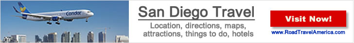 Spotting airliners at the San Diego Airport?  Click for details about area lodging options, attractions and maps